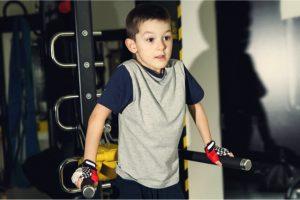 a boy doing a training